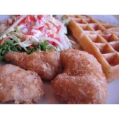 Regular Thick Waffle with fried fish