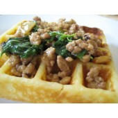 Regular Thick Waffle with basil leave pork