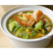 Spicy mixed vegetable soup with shrimp