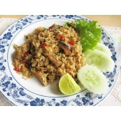 Fried rice with basil leave and mackerel