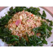 Fried rice with basil leave and ham